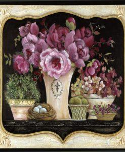 Cornice con composizione con vasi di fiori