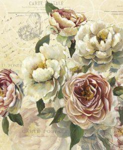 Cartolina vintage con fiori bianchi e rosa