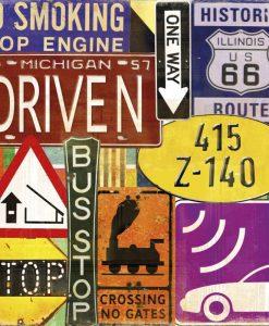 Composizione con cartelli stradali americani