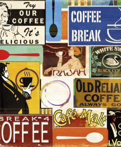 Composizione con cartelli di bar e cafè americani