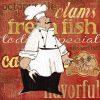 Illustrazione di uno chef addetto a cucinare del pesce