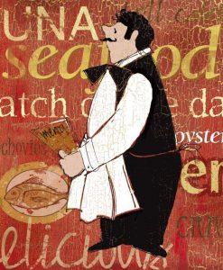 Illustrazione di un cameriere che regge un menu di pesce