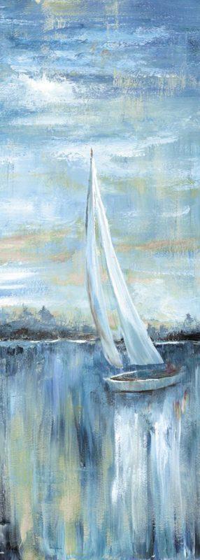 Dipinto dai tono blu di una barca a vela