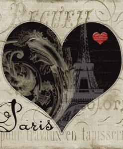 Composizione vintage con cuore a tema Parigi