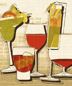 Composizione grafica con vari bicchieri con cocktail