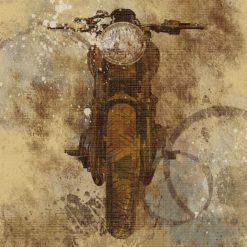 Dettaglio di una motocicletta con effetti sfumati