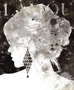 Silhouette del profilo di una donna con orecchini