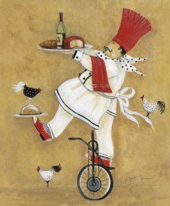Chef su un monociclo che regge due vassoi