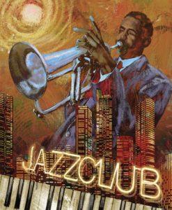 Musicista jazz che suona la tromba