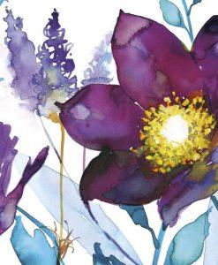 Acquerello con dettagli di fiori viola