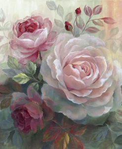 Dipinto romantico con rose bianche