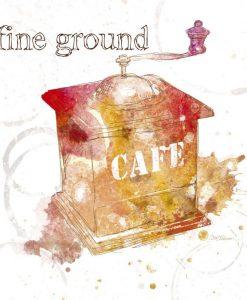 Silhouette di un macinino del caffè colorato con sfumature dai toni caldi