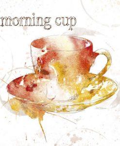 Silhouette di una tazzina di caffè colorata con sfumature dai toni caldi