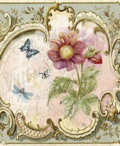 Dipinto con cornice decorata e fiore in stile vintage