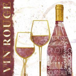 Composizione con vino rosso e bicchieri