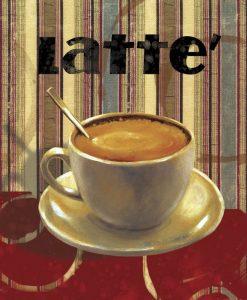 Tazzina di caffè su sfondo a righe
