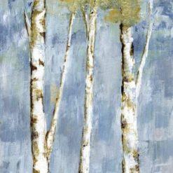 Dipinto con betulle su sfondo azzurro