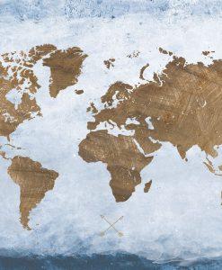 Dipinto del planisfero con effetto sfumato