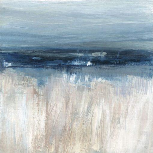 Dipinto astratto con orizzonte blu e base bianca