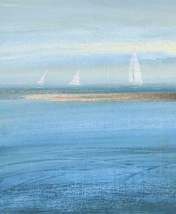 Dipinto del mare con delle barche a vela all'orizzonte