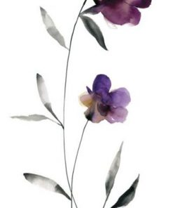 Elegante acquerello di fiori viola su sfondo bianco