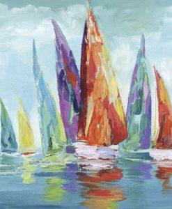 Dipinto con barche dalle vele variopinte