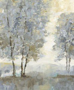 Dipinto con alberi dalle sfumature chiare
