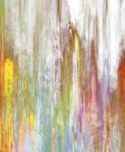 Dipinto con pennellate verticali variopinte dai colori caldi