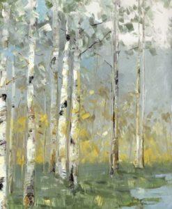 Dipinto di un bosco di betulle con uno specchio d'acqua