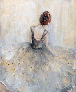 Delicato dipinto di una ballerina nel suo abito da scena