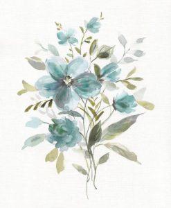 Mazzo di fiori di campo dalle tonalità blu su sfondo bianco