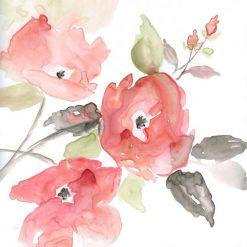 Acquerello di un ramo con fiori rossi