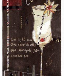 Dipinto con elementi grafici e un cocktail