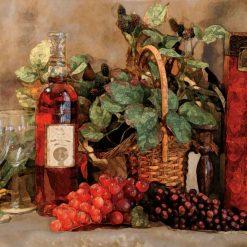 Dipinto con effetto sfocato di grappoli d'uva e vino