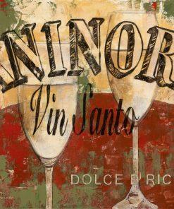 Composizione a tema vino italiano con effetto affresco