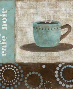 Tazzina di caffè con elementi decorativi dai toni freddi
