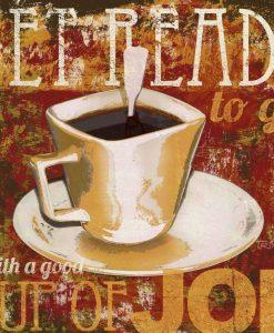 Dipinto di una tazzina di caffè con effetto affresco