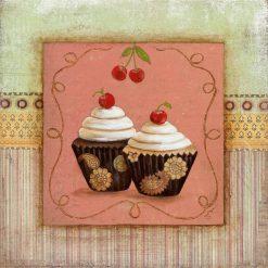 Muffin con glassa alle ciliegie incorniciato