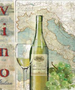 Composizione a tema vino con cartina dell'Italia