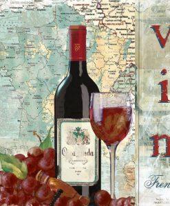 Composizione a tema vino con cartina della Francia