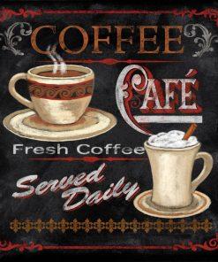 Lavagna con tazze di caffè