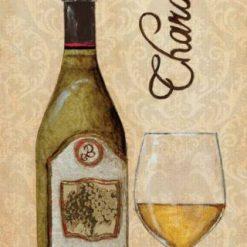 Composizione con bottiglia e bicchiere di vino bianco