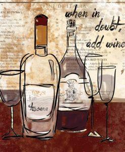 Disegno su carta di giornale a tema vino