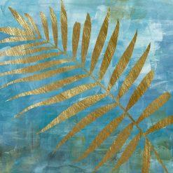 Dipinto con foglie di palma dorate su sfondo blu