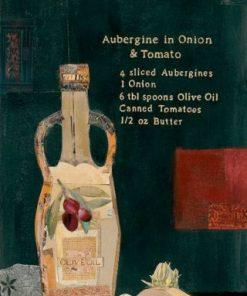 Composizione con bottiglia di olio e verdure