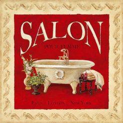 Cornice con vasca da bagno e scritta su sfondo rosso