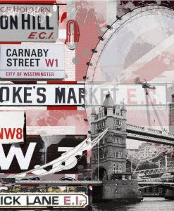Collage di cartelli stradali e elementi londinesi