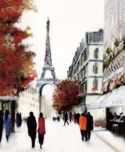 Strada parigina con laTour Eiffel di sfondo