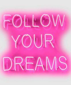 """Neon rosa con scritta in inglese """"Segui i tuoi sogni"""""""