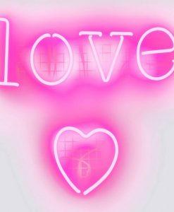 """Neon rosa con scritta """"Love"""" e cuore"""